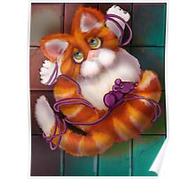 All Tied up Kitty: Puffybuttons™by Alma Lee Poster