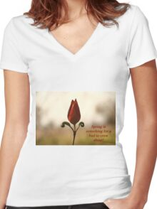 Spring is something for a bud to crow about. Women's Fitted V-Neck T-Shirt