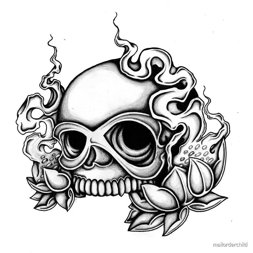 Tattoo Flash Skull Card by mailorderchild