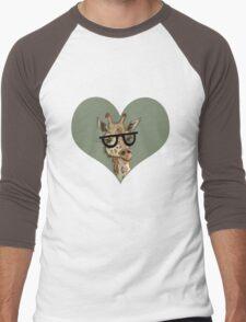 Ironic Lovely Lashes Giraffe Men's Baseball ¾ T-Shirt