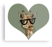 Ironic Lovely Lashes Giraffe Metal Print