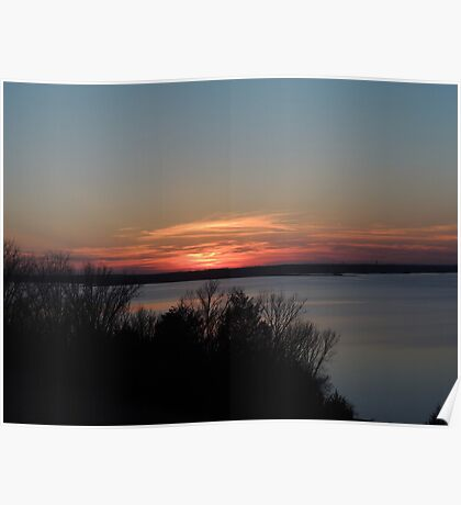 The View at Clinton Lake, Beautiful Sunset-3 Poster