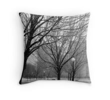 Snowy afternoon in New York City Throw Pillow