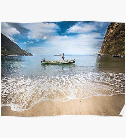 Caribbean fishermen Sugar Beach St Lucia by Heather Buckley Poster