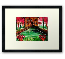 Pond in the park, watercolor Framed Print