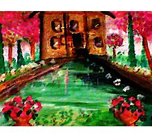 Pond in the park, watercolor Photographic Print