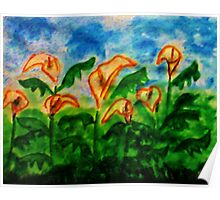 Easter Lillies, watercolor Poster