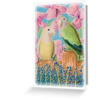 Peach Faced Love Birds Greeting Card