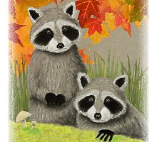 Raccoons in Autumn Woods by jkartlife