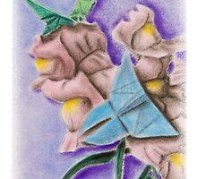 Origami Butterflies on Snapdragon Flowers by jkartlife