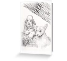 Basset Hound and Welsh Corgi Dog Portrait Greeting Card