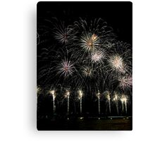 Lake Burley Griffin Comes To Life Canberra Australia  skyfire 2013 Canvas Print