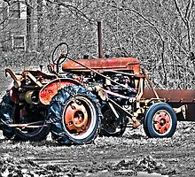 Red Tractor on Monochrome by Caleb Ward