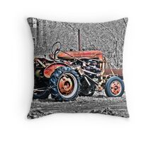 Red Tractor on Monochrome Throw Pillow