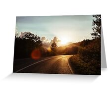 Road at sunset Greeting Card