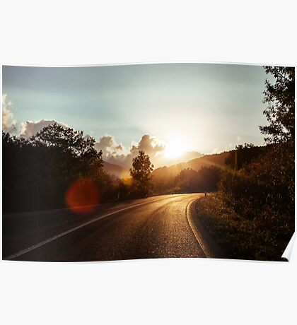 Road at sunset Poster
