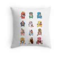Reading fictional characters Throw Pillow