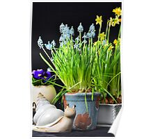 Easter flowers and a snail Poster