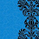 Blue & Black Vintage Floral Damasks by artonwear