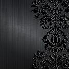 Black & Gray Vintage Floral Damasks by artonwear