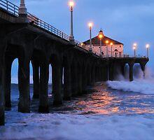 Manhattan Beach Pier Crashing Surf by Vivian Christopher