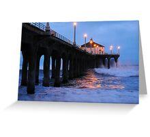 Manhattan Beach Pier Crashing Surf Greeting Card