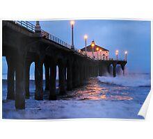 Manhattan Beach Pier Crashing Surf Poster