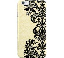 Black & Beige Vintage Damasks Design iPhone Case/Skin