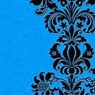 BLack & Blue Vintage Damasks Design by artonwear