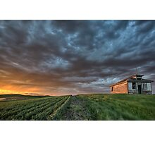 Old School house and sunset Photographic Print