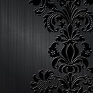 BlackFloral Damasks & Metallic Brushed Aluminum Background by artonwear