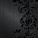 BlackFloral Damasks & Metallic Brushed Aluminum Background by artonwear