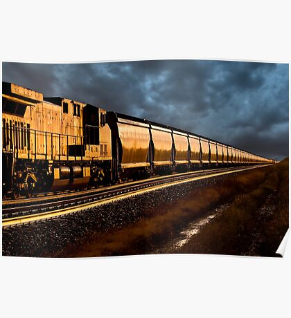 Train at Sunset Poster
