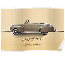 1947 Ford Super Deluxe Convertible w/ID Poster