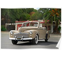 1947 Ford Super Deluxe Convertible / Old Gas Station Poster