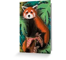 Red Panda on Stump Greeting Card