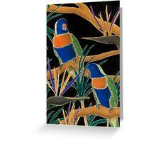 Rainbow Lorry with Birds of Paridice Flowers Greeting Card