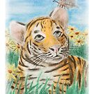Baby Tiger in Filed of Yellow Daisies with Butterfly by jkartlife