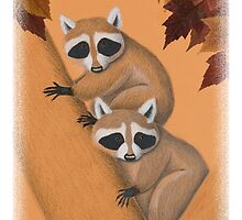 Raccoon's in Fall Tree by jkartlife