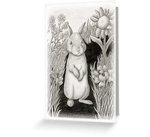 Baby Bunny Rabbit in Garden of Flowers Greeting Card