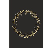 Lord of the Rings - The One Ring (Gold on Black) Photographic Print