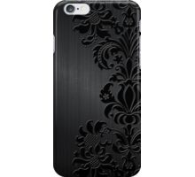 Black Floral Damask Over Dark Gray Metallic Design Brushed Aluminum Look iPhone Case/Skin