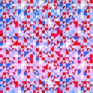 Pink Blue & White Abstract Geometric Pattern by artonwear