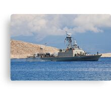 Mykonios missile boat, Halki Canvas Print