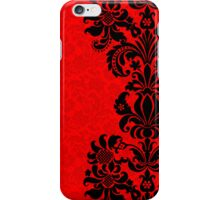 Black & Red Floral Vintage Damasks Design iPhone Case/Skin