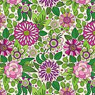 Retro Floral Design In Green White And Purple by artonwear