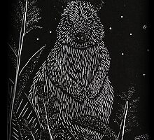 Quokka Wood Engraving by jkartlife
