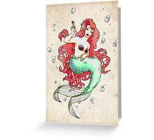 Mucha-esque Mermaid Greeting Card