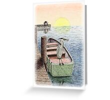 Great Blue Heron on Boat Greeting Card
