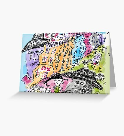 """Bourbon Street. Drawing by Andrzej Goszcz. Author:  Andrzej Goszcz , nickname """" Brown Sugar"""" .  featured in Culture at Large (A to Z). Greeting Card"""